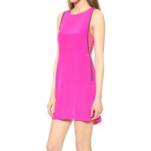 Charlie Jade Hot Pink Silk Mini Dress with Zippers